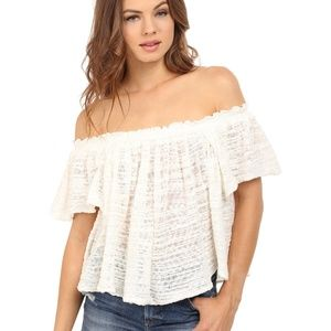 Free People Thrills & Frills Off The Shoulder Top